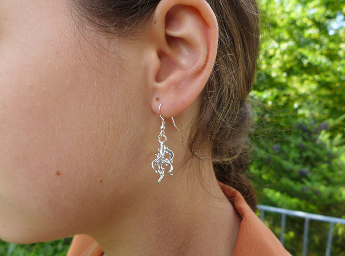 Nodulated Root Earrings  3d printed Nodulated root earrings in polished silver