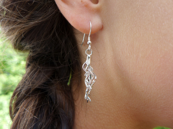 Plant Root Earrings - Science Jewelry 3d printed Root earrings in polished silver