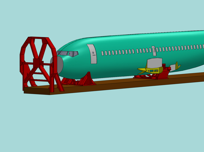 1/87 Boeing Fuselage Icebreaker & Cradles for flat 3d printed Another CAD render, this time showing my Boeing 737-400 model.