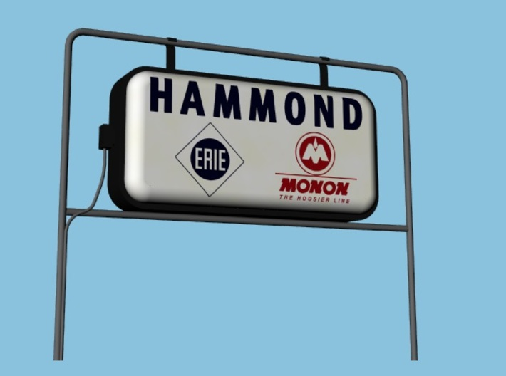 Monon Station Signs - HO, Four Pack 3d printed ***mounting hardware is not included in the sign kit.
