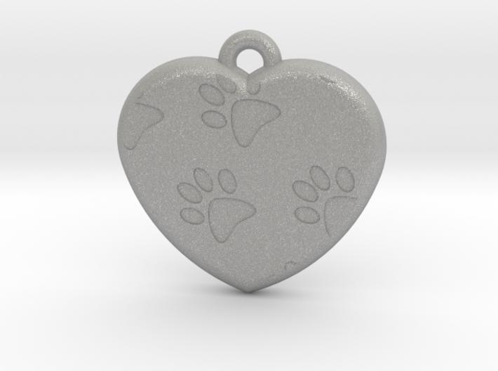 Pawprints On My Heart Pendant 3d printed