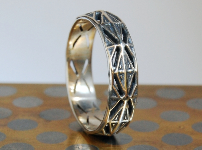 Cut Facets Ring Sz. 7 3d printed polished silver with liver of sulfur patina