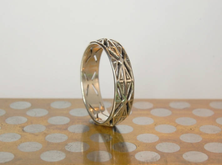 Cut Facets Ring Sz. 9 3d printed polished silver