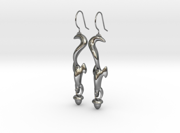 Squirrely Earrings 3d printed