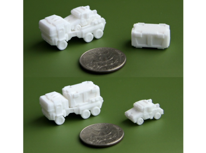 'Hev' Truck + 'Moose' Car combo 6mm 3d printed Printed in WSF. US Quarter for scale.