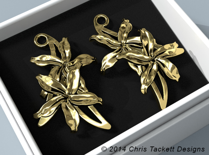 Sampaguita Earrings 3d printed Sampaguita earrings product rendering