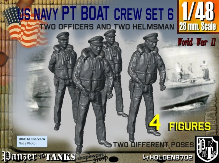 1-48 US Navy PT Boat Crew Set6 3d printed
