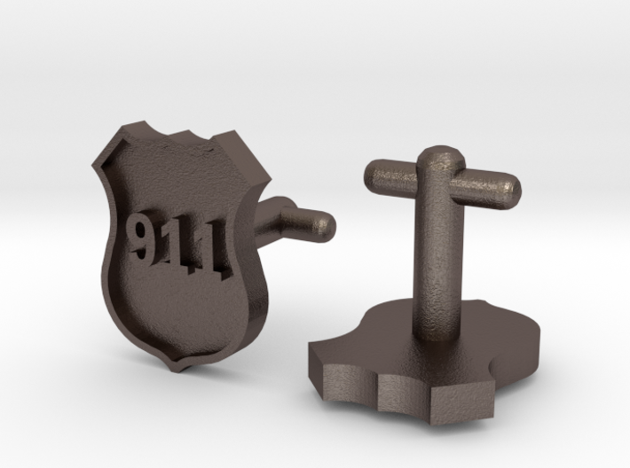 911 Police Shield Cuff-links 3d printed