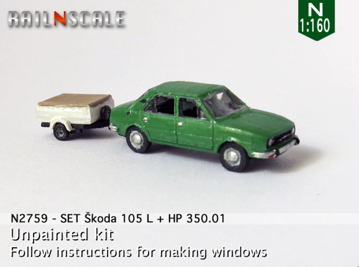 SET Skoda 105 L + HP 350.01 (N 1:160) 3d printed