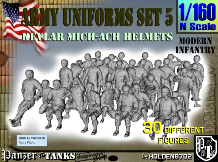 1-160 Army Modern Uniforms Set5 3d printed