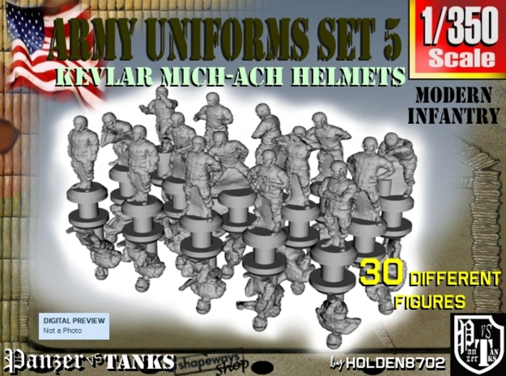 1-350 Army Modern Uniforms Set5 3d printed