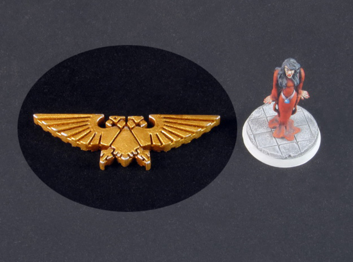 Double-headed Eagle token 3d printed White Strong Flexible Polished, hand-painted (miniature for scale, base 25mm)