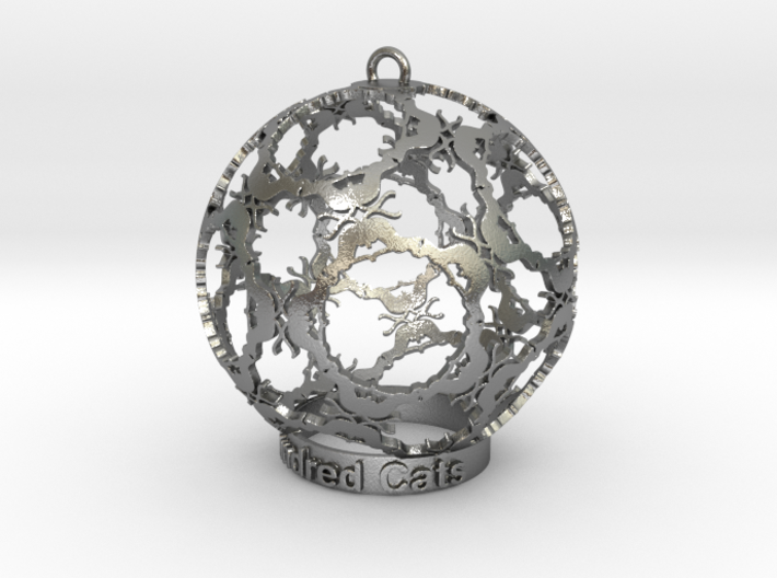 Hundred Cats Ornament 3d printed Silver cats are so sparkling