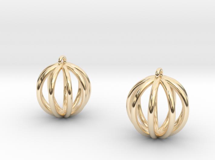 Small globe earrings 3d printed