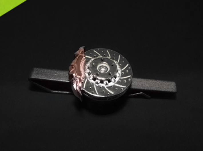 Race Brake tie bar, cufflinks, lapel pin 3d printed multiple materials: rhodium plated disk and rose gold plated caliper