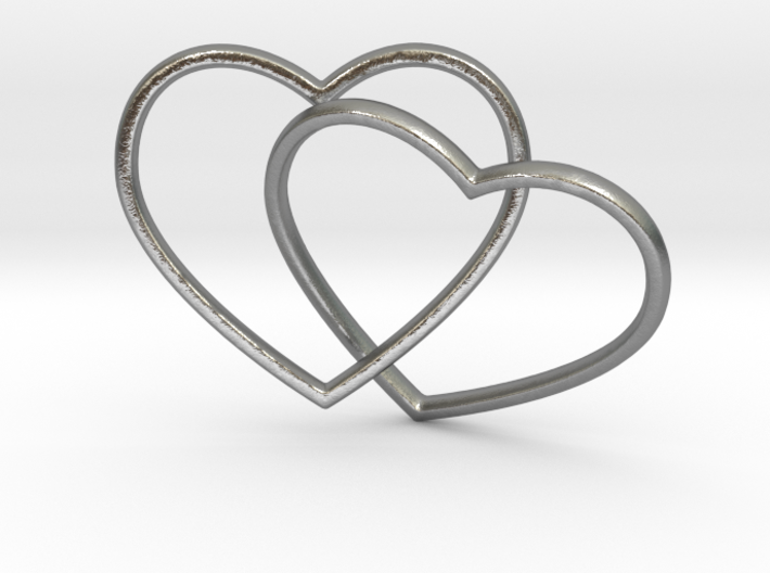 Two Hearts Interlocking Pendant 3d printed Two Hearts Interlocking (different materials have different prices)
