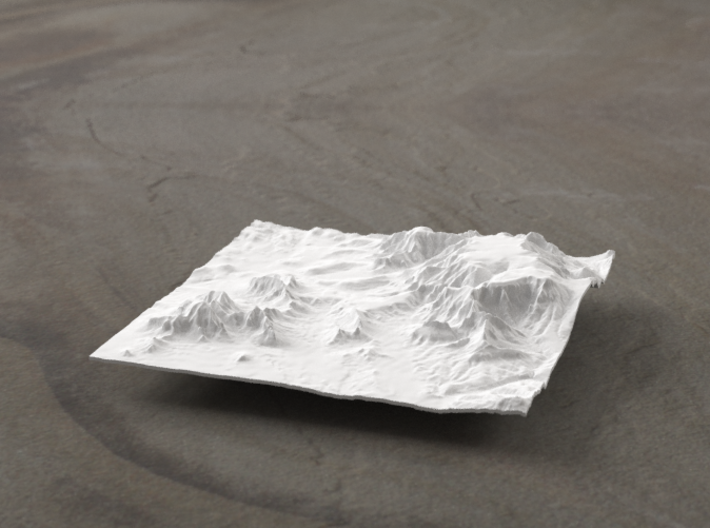 4'' Sedona Terrain Model, Arizona, USA 3d printed Radiance rendering of model, viewed from SSE