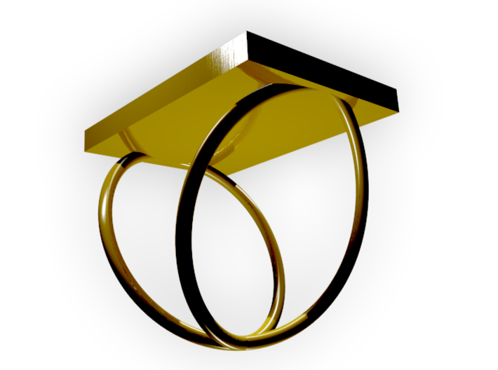 Gold Periodic Table Ring Size 6 3d printed CGI Render of The Ring From The Bottom