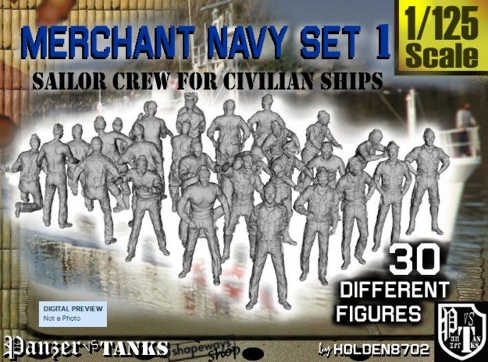 1/125 Merchant Navy Crew Set 1 3d printed