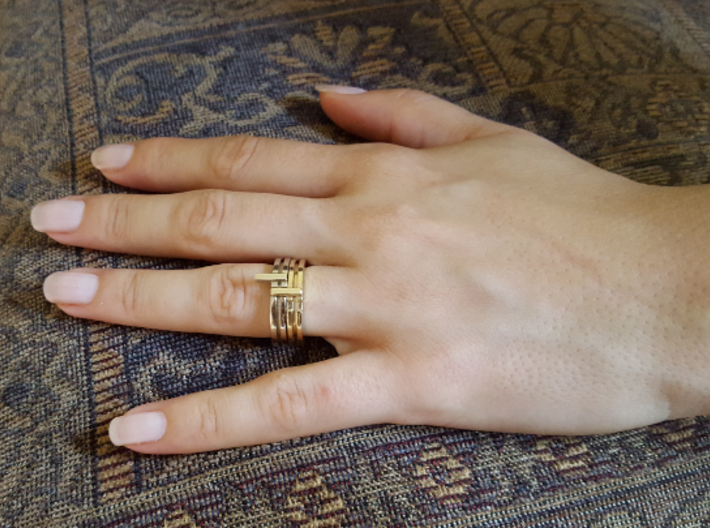 Stackable Ring Size 7 3d printed Brass / White Gold