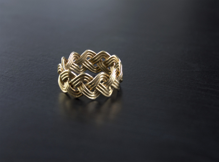 Turk's Head Knot Ring 3 Part X 11 Bight - Size 7 3d printed Polished Brass