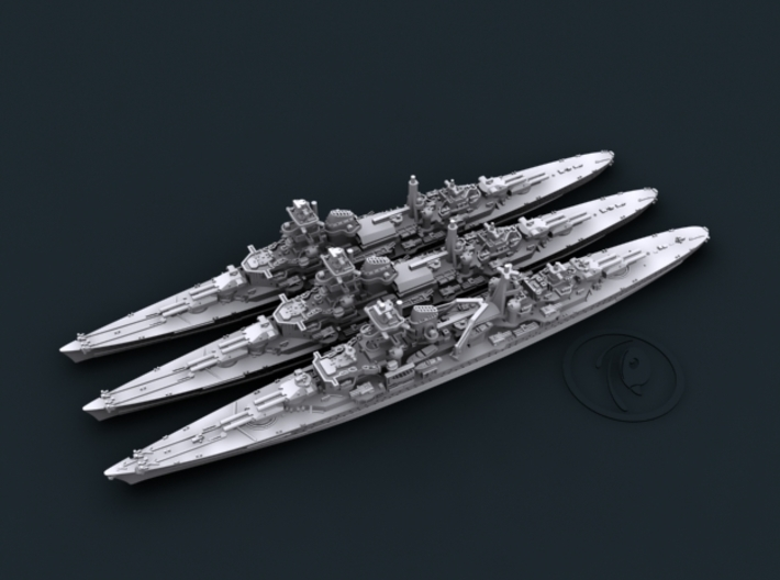 1/3000 WW2 German Navy 8in Heavy Cruisers 3d printed Computer software render