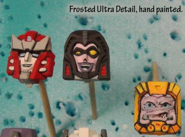 Gobots Crasher Face (Titans Return) 3d printed Hand painted frosted ultra detail (shown with other faces)