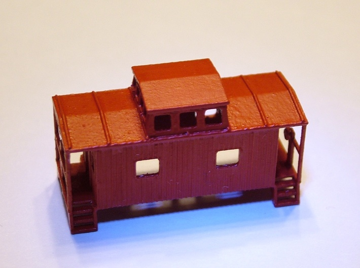 Bobber Caboose - Zscale 3d printed Painting and Photo by Walter Smith