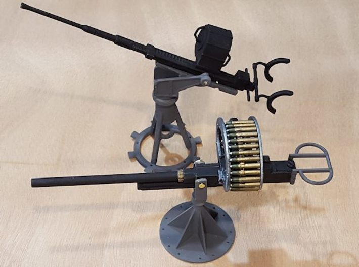 37mm M4 Cannon (multiple scales) 3d printed 1:16 cannon, next to available 20mm Oerlikon.