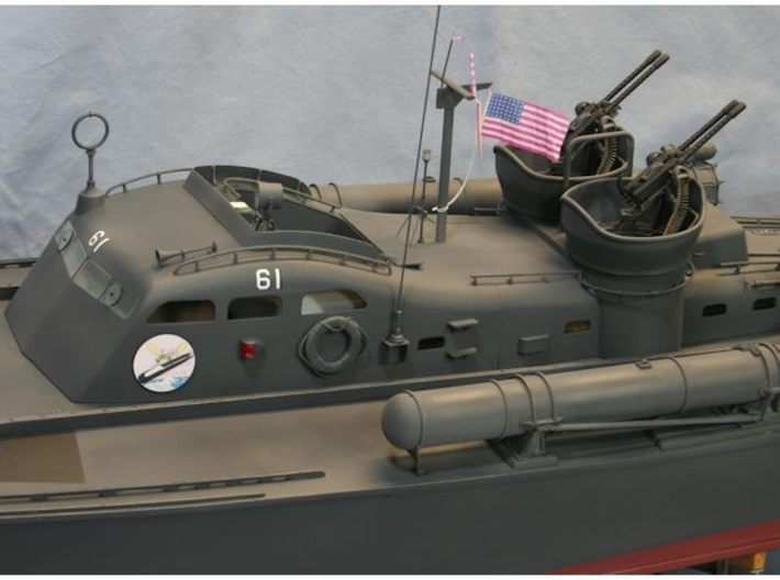 50cal BMG Set, multi scale 3d printed 1:24 set assembled to PT boat model