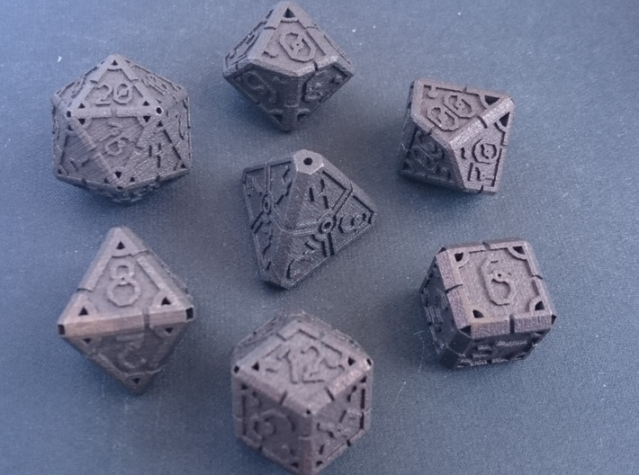 Vertex Dice RPG Set and Singles 3d printed Fresh from printing, without any finishing.
