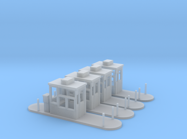Parking Booths Z Scale 3d printed 4 Parking booths Z scale