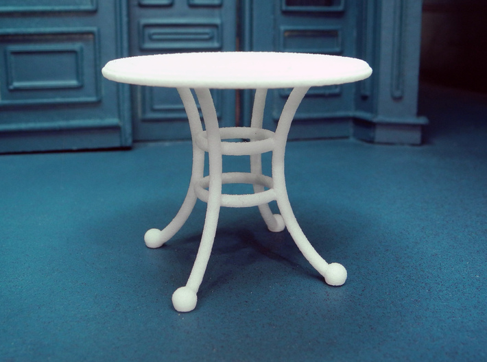 1:24 Rod Iron Table 3d printed Printed in White, Strong & Flexible