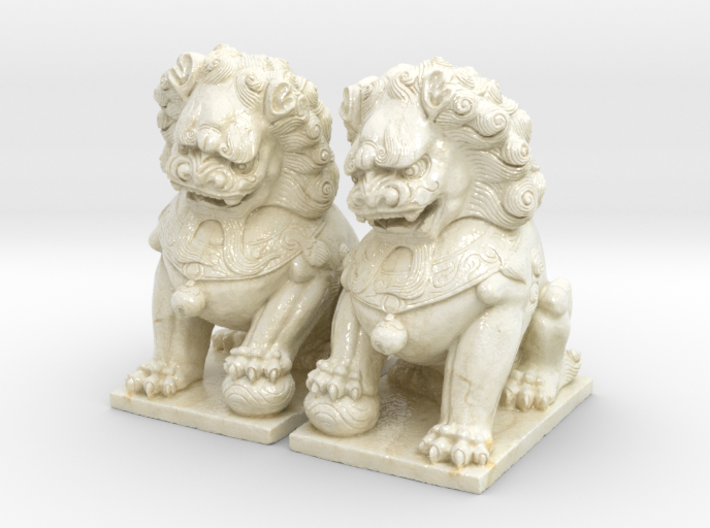 Chinese Guardian Lions 3d printed