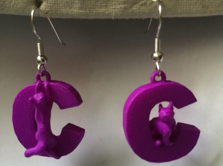C Is For Cat 3d printed It's easy to add your own earring hooks!