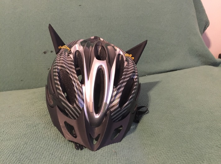 Pair of Bat Ears for Cycle Helmet 3d printed Attached between vents on the helmet.
