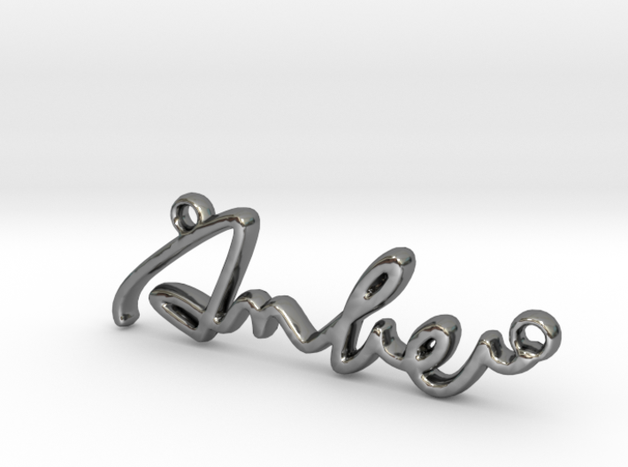 AMBER Script First Name Pendant 3d printed