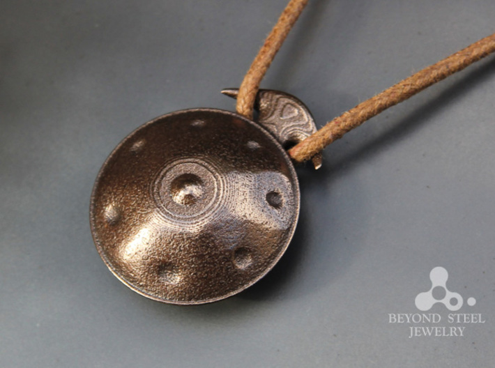 Handpan Instrument Pendant v2 3d printed Polished Bronze Steel Finish