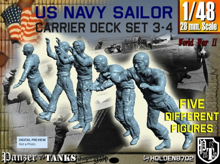 1-48 US Navy Carrier Deck Set 3-4 3d printed