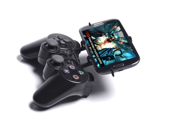 PS3 controller & Lava Iris Atom 3 3d printed Side View - A Samsung Galaxy S3 and a black PS3 controller