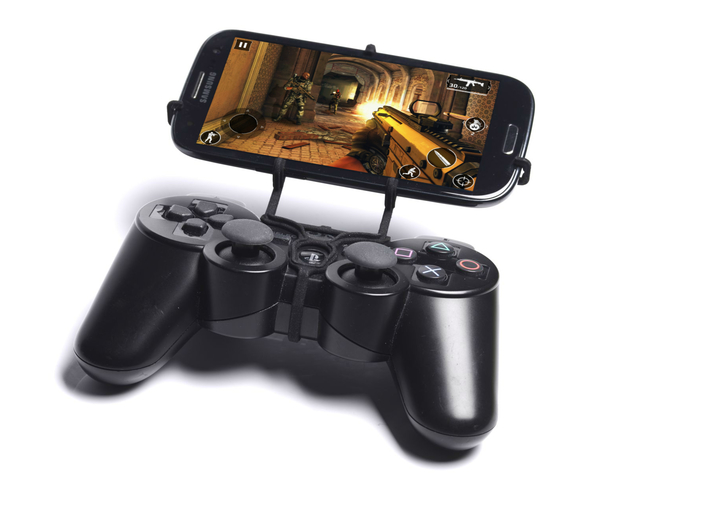 PS3 controller & Panasonic Eluga Arc 2 - Front Rid 3d printed Front View - A Samsung Galaxy S3 and a black PS3 controller