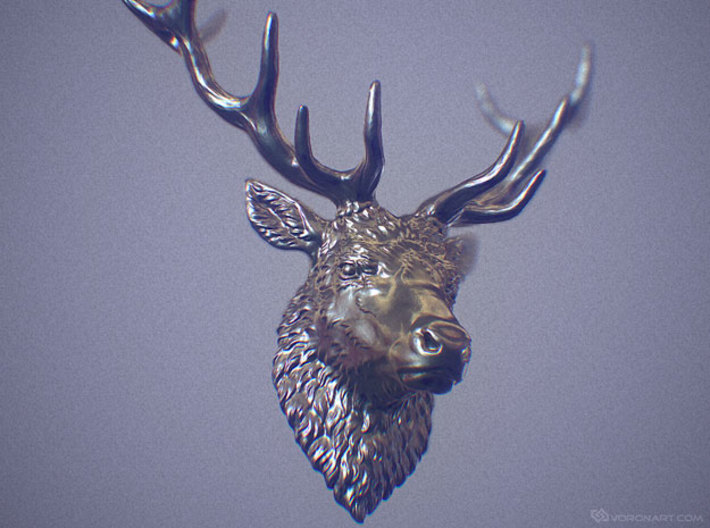 Deer head pendant 3d printed Realistic, highly detailed model. Not a photo