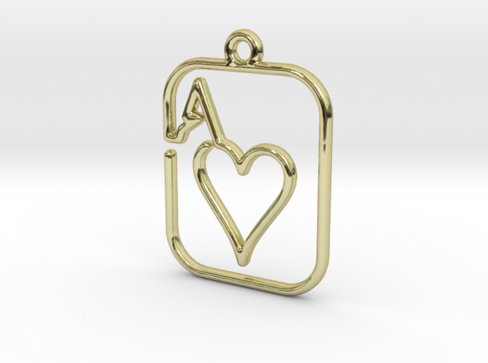 The Ace of Heart continuous line pendant 3d printed