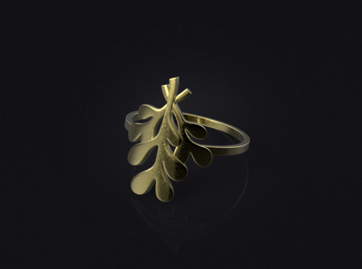 Mistletoe Ring 3d printed 3D visualization of the ring in brass.