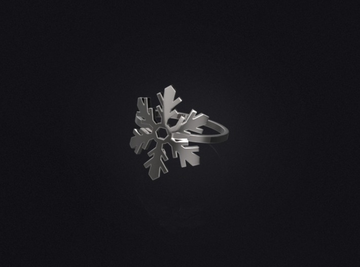 Snowflake Ring 02 3d printed 3D visualization of the ring in silver.