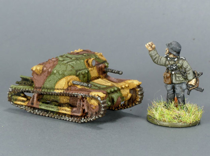 Tancik Vz33 Tankette 3d printed This is the 15mm version in WSF. The figure (for scale) is a German Grenadier from Battlefront.