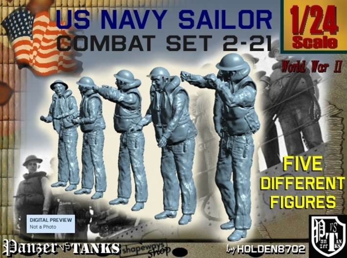 1-24 US Navy Sailors Combat SET 2-21 3d printed