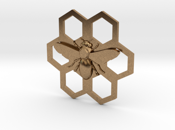 Bee Hive Honey Comb Charm Necklace Pendant 3d printed