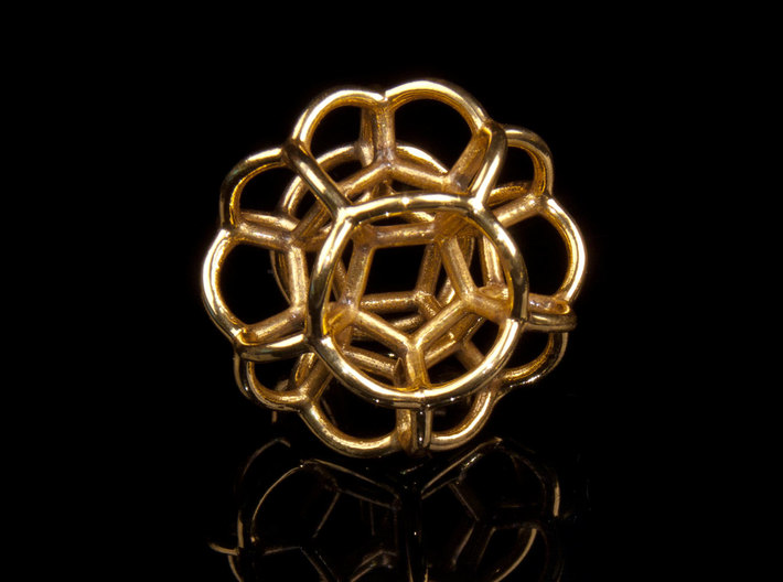 Soap Bubble Dodecahedron 3d printed Printed in Polished Brass