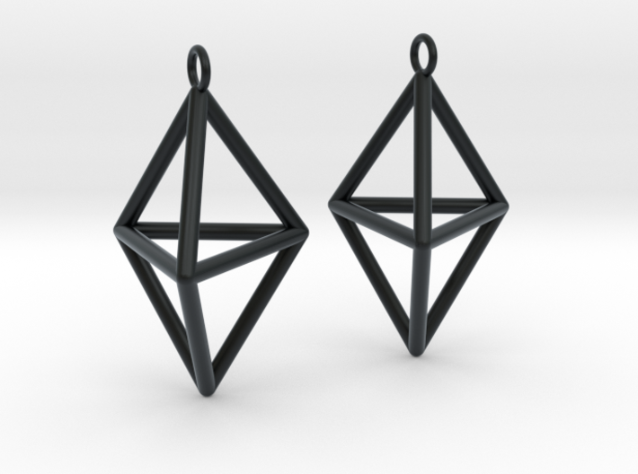 Pyramid triangle earrings type 3 3d printed
